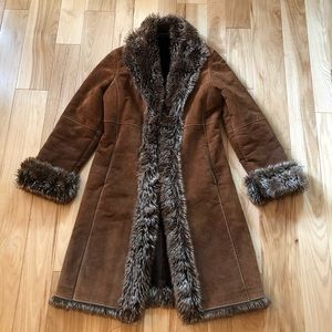 Vintage Boho Wilsons Leather Suede Faux Fur Coat